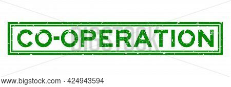 Grunge Green Co Operation Word Square Rubber Seal Stamp On White Background