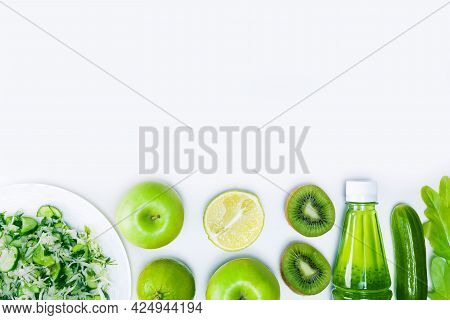 Fresh Vegetables Salad And Fruits On Light Grey Surface With Copy Space. Diet Or Healthy Food Concep