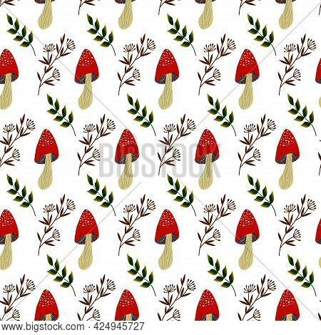 Pattern With Fly Agarics, Leaves And Herbs. Vector Illustration. For Packaging, Prints, Fabrics, Sho