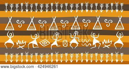 Traditional Rituals Of Ancient Tribes And Symbols. Dances Of Ancient People Around The Fire, Dwellin