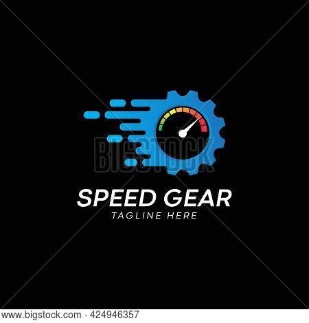 Speed gear Icon Logo Design Element, Vector Illustration