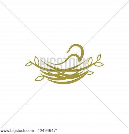 Bird Nest Vector Logo Illustration. Animal Nature Home Symbol.