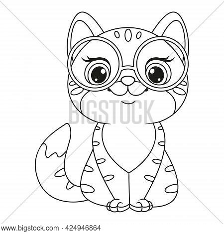 Kitten With Glasses Coloring Page. Outline Cartoon Vector Illustration