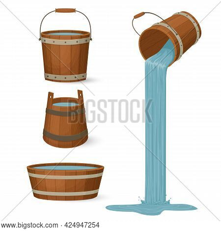 Wooden Buckets And A Tub Filled With Water. Liquid Pouring With A Splash. Cartoon Style Illustration