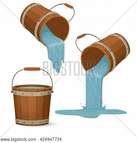 Wooden Buckets With Water. Liquid Pouring With A Splash. Cartoon Style Illustration. Vector.