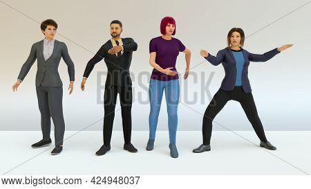 Business People Joking In Team Man And Woman Dancing Ridiculous 3d Illustration