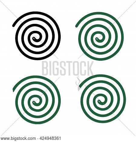 Mosquito Repellent Coil Icon On White Background. Green Mosquito Coil Sign. Mosquito Repellent Symbo