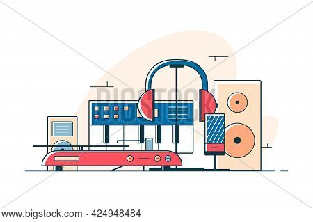 Electrical Audio Devices And Equipment Vector Illustration. Musical Set Of Subwoofer, Column, Headse