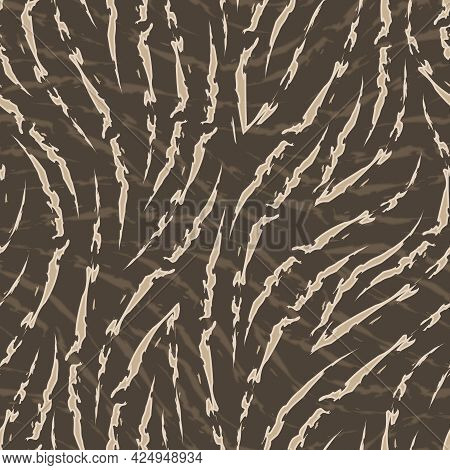 Beige Seamless Vector Pattern Of Corners And Flowing Lines With Ragged Edges On Brown Background Zeb
