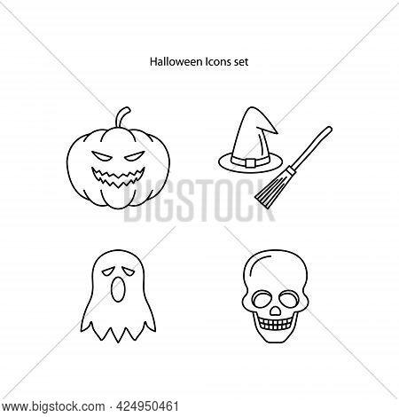 Halloween Icons Set Isolated On White Background. Halloween Icon Thin Line Outline Linear Halloween