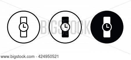 Wrist Watch Icon, Clock, Waiting, Timer Icons Button, Vector, Sign, Symbol, Logo, Illustration, Edit