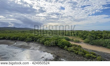 Aerial Over A Creek At Low Tide With Mud And Sandbanks Visible And A Bushland Shoreline At Cape Palm