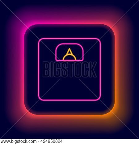 Glowing Neon Line Bathroom Scales Icon Isolated On Black Background. Weight Measure Equipment. Weigh
