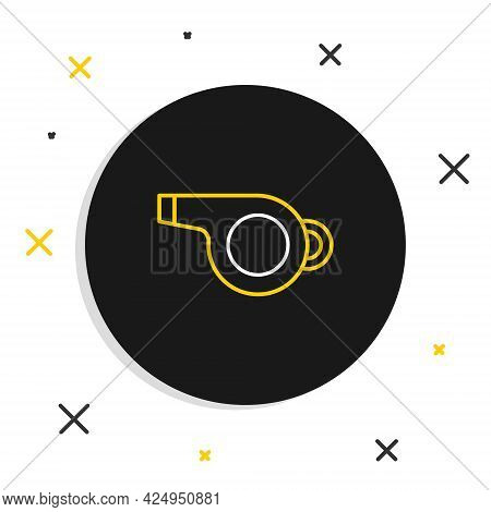 Line Whistle Icon Isolated On White Background. Referee Symbol. Fitness And Sport Sign. Colorful Out