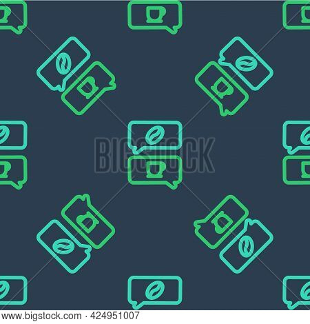 Line Coffee And Conversation Icon Isolated Seamless Pattern On Blue Background. Coffee Talk. Speech