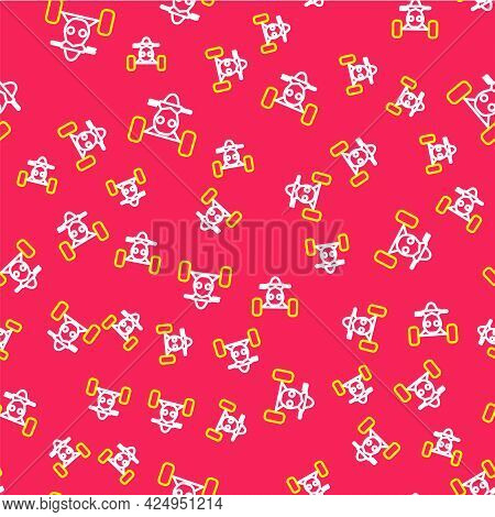 Line All Terrain Vehicle Or Atv Motorcycle Icon Isolated Seamless Pattern On Red Background. Quad Bi