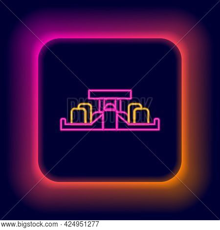 Glowing Neon Line Formula 1 Racing Car Icon Isolated On Black Background. Colorful Outline Concept.