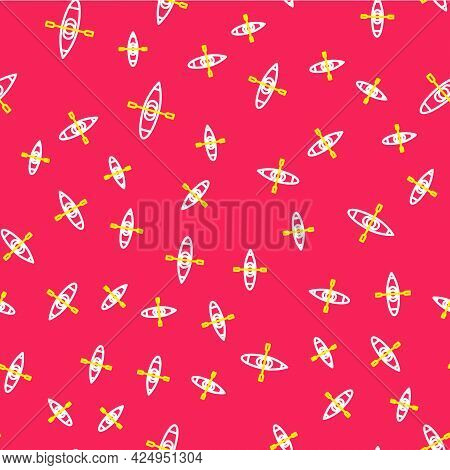 Line Kayak And Paddle Icon Isolated Seamless Pattern On Red Background. Kayak And Canoe For Fishing