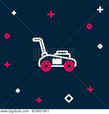 Line Lawn Mower Icon Isolated On Blue Background. Lawn Mower Cutting Grass. Colorful Outline Concept