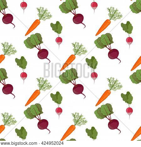 Super Cute Seamless Pattern With Vegetables - Carrot, Beetroot And Radish. Different Vegetables In C