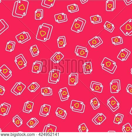 Line Playing Cards Icon Isolated Seamless Pattern On Red Background. Casino Gambling. Vector