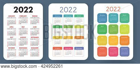 Calendar 2022 Year Set. Vector Pocket Or Wall Calender Template Collection. Simple Design. Week Star