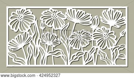 Decorative Panel With A Floral Pattern. Rectangular Frame With Chamomile Flowers, Daisies, Poppies,