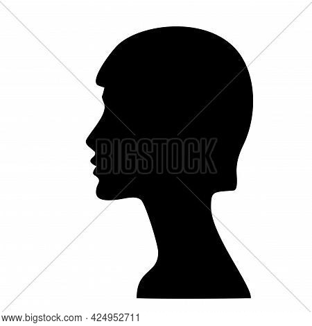 Silhouette Of A Girl S Profile. Woman Face Silhouette. Beautiful Female Face In Profile. Isolated In