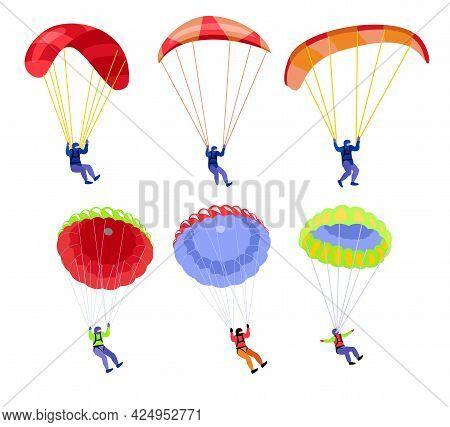 Parachutists. People On Parachutes Set. Skydivers Flying With Parachutes Set, Extreme Parachuting Sp