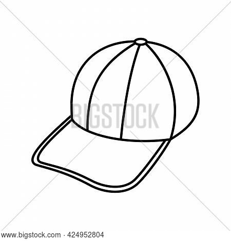 Baseball Cap Icon. Linear Baseball Cap Icon. Vector Illustration. Baseball Cap Vector Icon. Black Li