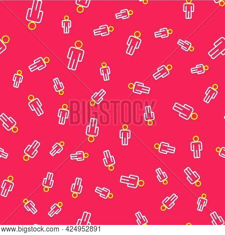 Line User Of Man Icon Isolated Seamless Pattern On Red Background. Business Avatar Symbol User Profi