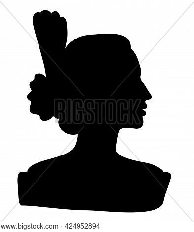 Flamenco Dancer, Spanish. The Drawing Of The Proud Lady With A Graceful Hairstyle. Beautiful Female