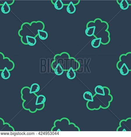 Line Cloud With Rain Icon Isolated Seamless Pattern On Blue Background. Rain Cloud Precipitation Wit