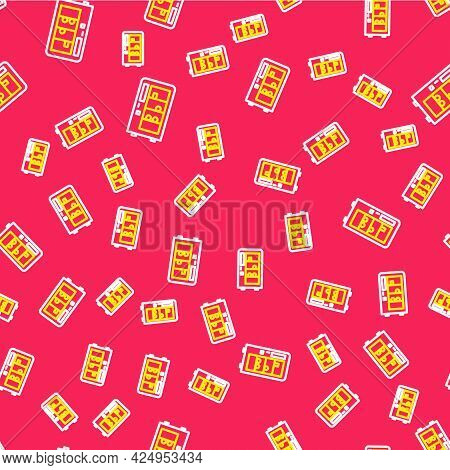 Line Vending Machine Of Food And Beverage Automatic Selling Icon Isolated Seamless Pattern On Red Ba