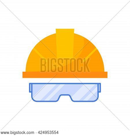 Construction Helmet And Safety Goggles Isolated Icon On White Background.