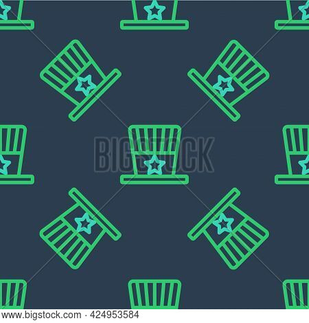 Line Patriotic American Top Hat Icon Isolated Seamless Pattern On Blue Background. Uncle Sam Hat. Am