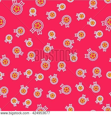 Line Medal With Star Icon Isolated Seamless Pattern On Red Background. Winner Achievement Sign. Awar