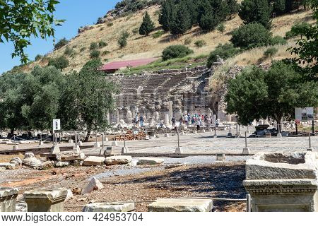 Ephesus, Turkey - June 4, 2021: These Are The Agora Square And The Odeon On The Territory Of The Arc