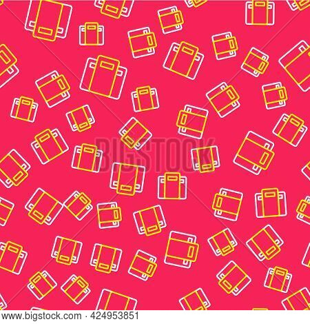 Line Police Assault Shield Icon Isolated Seamless Pattern On Red Background. Vector