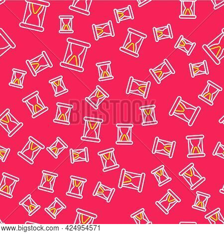 Line Old Hourglass With Flowing Sand Icon Isolated Seamless Pattern On Red Background. Sand Clock Si