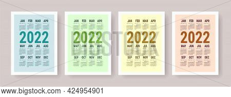 Calendar 2022 Year Set. Vector Template Collection. Simple Design. Week Starts On Sunday. January, F