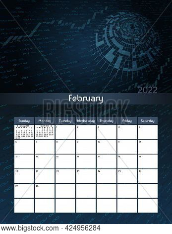 Us Letter Paper Size Vector Futuristic Monthly Planner Calendar February 2022 Week Starts On Sunday.