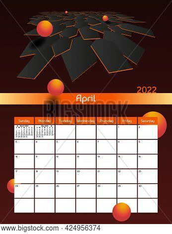 Us Letter Paper Size Vector Futuristic Monthly Planner Calendar April 2022 Week Starts On Sunday. Ve