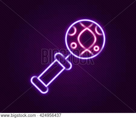 Glowing Neon Line Dna Research, Search Icon Isolated On Black Background. Magnifying Glass And Dna C