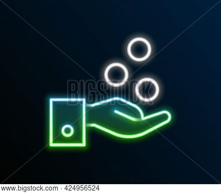 Glowing Neon Line People Paying Tips To Service Staff In Restaurant And Hotel Icon Isolated On Black