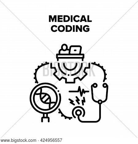 Medical Coding Vector Icon Concept. Developer Working At Workspace Table And Medical Coding On Compu