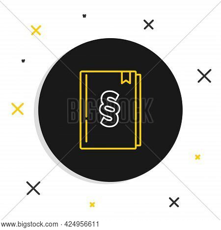 Line Law Book Icon Isolated On White Background. Legal Judge Book. Judgment Concept. Colorful Outlin