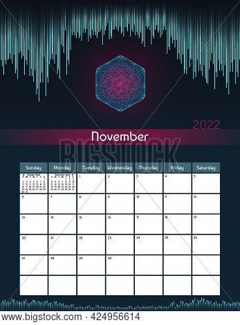 Us Letter Paper Size Vector Futuristic Monthly Planner Calendar November 2022 Week Starts On Sunday.