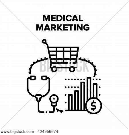 Medical Marketing Health Vector Icon Concept. Medical Marketing For Treatment In Hospital, Studying