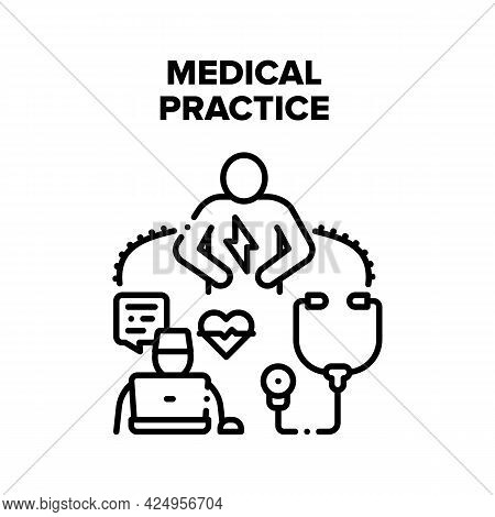 Medical Practice Vector Icon Concept. Doctor Specialist Medical Practice With Patient. Examining, Di